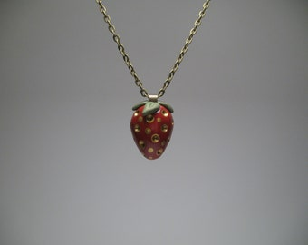 Strawberry Necklace - Polymer Clay Jewelry - Summer Jewelry