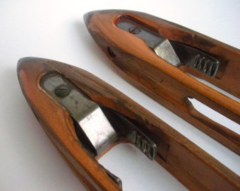 SALE Pair Antique Draper Wooden Boat Shuttles, Patented early 1900's