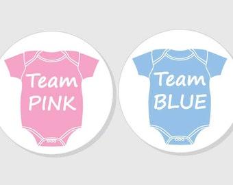 team pink team blue gender reveal baby shower stickers - bodysuit - matte white finish - 1.5 inch - 2 inch - 2.5 inch - 3 inch
