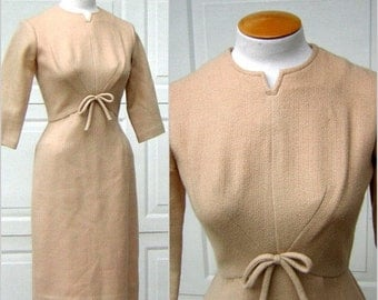 Vintage 60s Dress MadMen Sexy Secretary Fitted Beige Wool Fully Lined - Small but Powerful