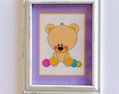 Dollhouse Miniature Framed Teddy Bear Picture for Nursery or Child's Room, 1/12th Scale