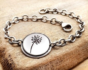 Dandelion bracelet, sterling silver dandelion jewelry, wish, girlfriend gift for her, Christmas gift for daughter, going away gift, coworker