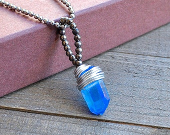 Blue Aqua Aura Quartz Crystal Point Necklace Silver Wrapped Wire Necklace Long Necklace Crystal Point Boho Jewelry Hematite Beads