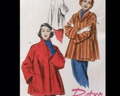 Vintage 50 Shawl Collar Swing Trapeze Short Jacket Car Coat Sewing Pattern Butterick 4928 XS S M