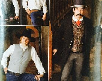 Buckaroo Bobbins Reenactor Costume Men's 1800s Western Gunslinger Work Shirt Vest Duster Coat Jacket Sewing Pattern Simplicity 2895 46 48 50