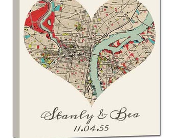 Gifts for Her Heart Shaped Map YOUR City Where it all began custom map art, Personalized Couple, Wedding Anniversary Gift  Unique Gift Idea