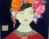 Natasha, pink, orange,yellow, turquoise, roses, navy blue