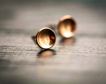 Tiny Gold Reflecting Pool Earrings - Dainty 14K Gold Filled Post Earrings, Tiny Gold Dot Circle Earrings, Gold Cup Earrings