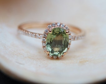 1.65ct Sparkling Green Tea sapphire ring 14k rose gold engagement ring