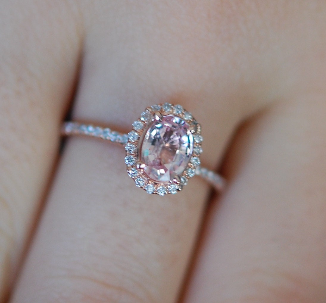 Rose gold engagement ring Peach sapphire diamond ring 14k
