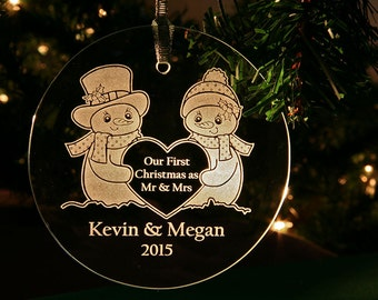 Personalized Engraved Couples First Christmas as Mr & Mrs Snowman Glass Ornament, 1st Holiday Keepsake Ornament  by Hummingbird Hill - ORN4