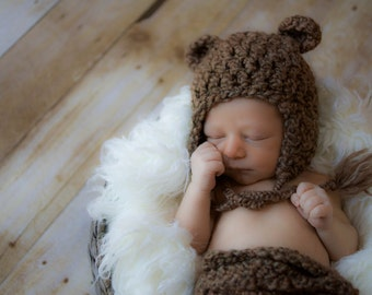 Newborn Baby Bear Hat, Baby Animal Hat, Infant Brown Bear Hat, Baby Halloween Hat, Newborn Costume, Baby Photo Prop, Newborn Ear Flap Hat