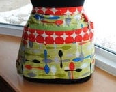 Handmade Vendor Apron  Utility Craft Farmers Market Teacher Green Spoons Orange Octogans