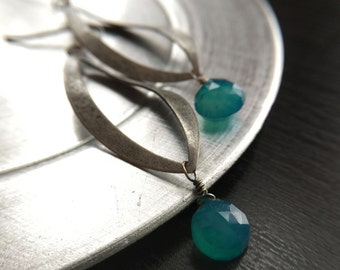 Teal Green Chalcedony Silver Earrings Gift for sister, mom, aunt, girlfriend, wife