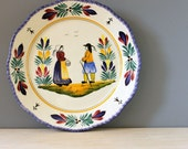 French vintage Quimper faience wall plate. Hand painted folk art from France. Petit Breton.
