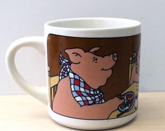 Happy Pig Family. 1980s Guhl pig mug.