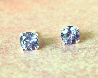 5mm Color Change Lab Sapphire Sterling Silver Stud Earrings, Cavalier Creations
