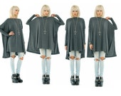 BABOOSHKA Vent Tee Mini Dress / Oversized Long Sleeve Mini T-Shirt Wide Boxy Dress Tunic Top Open Side Seams / Gray Black White