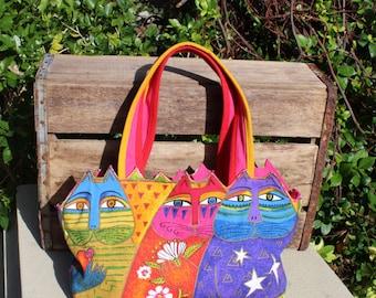 Vintage Laurel Burch cat bright colored handbag - top handles with top zipper