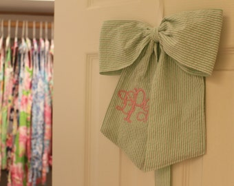 Monogrammed Seersucker Hair Bow Holder Custom