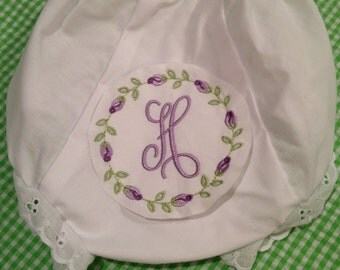 Heirloom Embroidered Monogram Rosebuds Floral Flowers Bloomers Diaper Cover Panty Baby Child