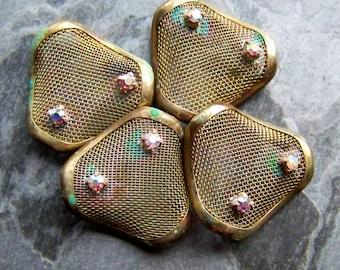 Rhinestone Beads, Patina Beads, Vintage Findings, Brass Finding, Jewelry Finding, Jewelry Supplies, Metal Mesh, Rhinestone Setting, 4 Beads