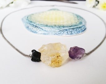 Raw Black Tourmaline, Citrine, and Amethyst Pendant