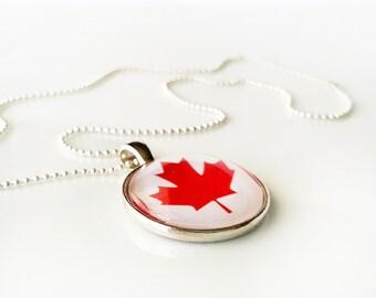 "Flag Necklace - CANADA - glass dome necklace, bezel set pendant, flag image, maple leaf necklace - 18"" silvertone ball chain"