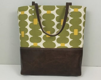 Lime tote, Skinny Laminx Bag, Leather bottom tote, Diaper bag, Everyday purse, Spring tote, Green and yellow canvas tote bag, Leather straps