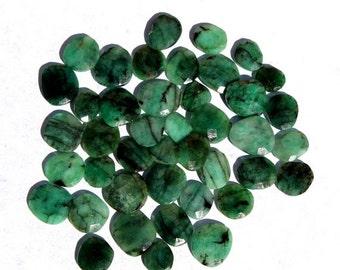 55% OFF SALE 10 Pcs Lot 10-15 mm Natural Emerald Gemstone, Faceted Irregular loose Gemstone, Irregular faceted cabochon IG04