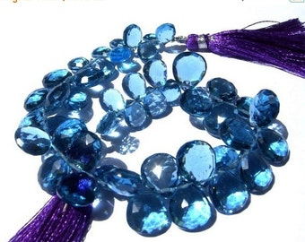 55% OFF SALE 1/2 Strand - AAA London Blue Quartz Faceted Pear Briolettes Size - 10x7 - 12x10mm approx