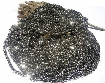 55% OFF SALE Buy Wholesale lot - 10 Strand Super Finest Mystic metallic Silver Pyrite Micro Faceted Rondelles Length 14 Inches Size 3.5mm ap