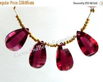 55% OFF SALE 4 Pcs 2 Match Pair 19x11 mm AAA Rubellite Pink Quartz Faceted Fancy Teardrop Briolette, Gemstone Pair, Earring Pair, Loose Bead