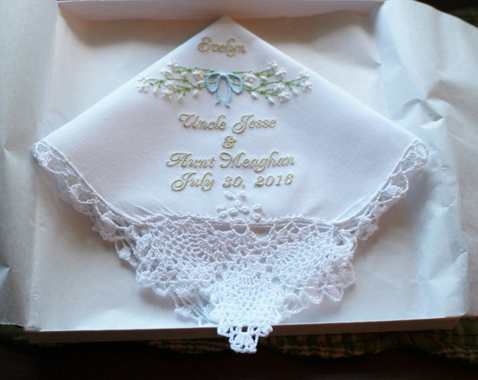 Personalized Flower Girl embroidered wedding handkerchief , flower girl gifts, embroidered handkerchief, flower girl hankie, mollyandmom