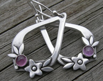 New Summer Happiness Alexandrite Sterling Silver Earrings June Birthstone PMC Artisan Jewelry