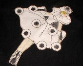 1920's Deco Card Table Cover ~ Pirouette Figures ~ Embroidered Applique