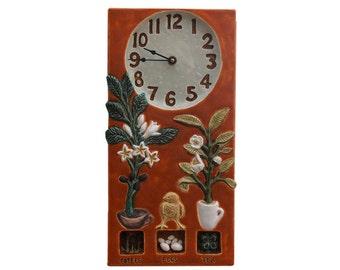 """Coffee, Tea & Eggs Clock in Tuscan Orange (14.5"""" h x 7.5"""" w)"""