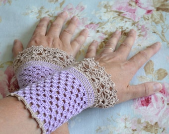 Lace crochet wristies, wristlets, cotton, P476