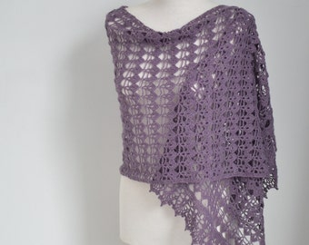 Lace crochet shawl, Purple,  P417