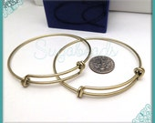 2 Brass Expandable Wire Bangles - Brass over Copper Wire Bracelets for Charms 7.25 Inch WB5