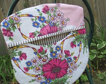Clothes Pin Peg Bag - Repurposed Vintage Retro Tablecloth & Wood Hanger Pinks Floral Daisies - Shabby Prairie Cottage