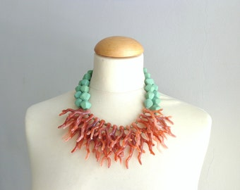 Green red coral branch necklace, coral branch statement