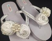 So Sweet Bride Carmella White Satin Rose Bridal Wedding Flip Flops Size 5/6 White
