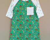 shortees knockout dress - flowers and dots - raglan baseball sleeves -available in infant & big kid sizes