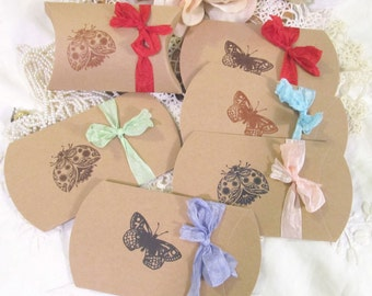 Butterfly Ladybug Small Kraft Pillow Candy Box Shower Favor - Set of 10 - Choose Ribbons & Ink - birthday sprinkle wedding bridal tea party