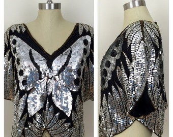20% OFF SALE 80s  Black Silver Sequined Cropped Butterfly Top, Size Large to XL