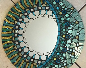 "16"" Aqua and pale gold Glitter Glass Mosaic Mirror -Celestial"
