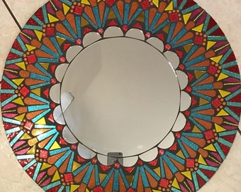 "REDUCED 24"" Mosaic Mirror Stained glass Mandala Round red yellow blue large"