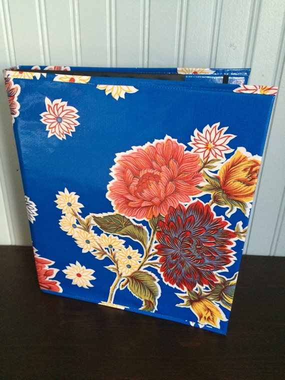 outlet 1 binder cover      blue floral ready to ship