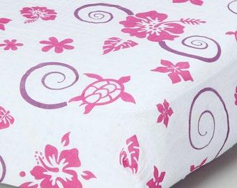 Pink Hawaiian Crib Sheet (organic cotton muslin)